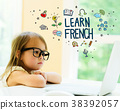 Learn French text with little girl  38392057