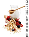 Oats, fruits and honey. 38392812
