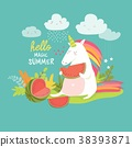 Cute unicorn with watermelon 38393871