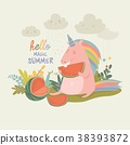Cute unicorn with watermelon 38393872