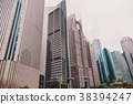 Skyscrapers of the Pudong area against the blue 38394247
