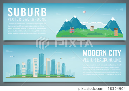 Two banners with City landscape and suburban 38394904