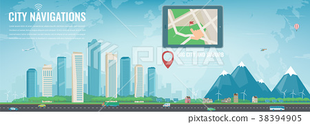 Smart city navigation. Big city and suburb. Tablet 38394905