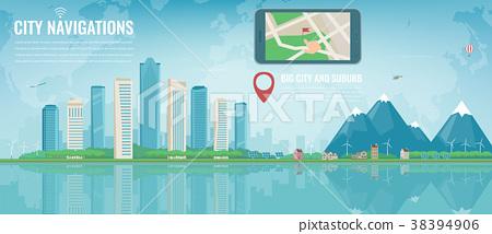 Smart city navigation. Big city and suburb. Tablet 38394906