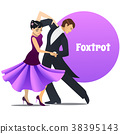 Foxtrot Dancing Couple in Cartoon Style 38395143