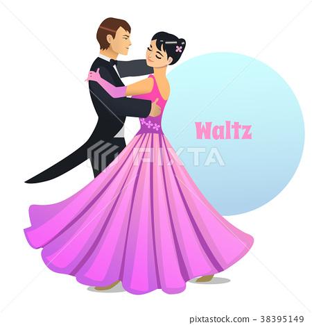 Waltz Dancing Couple in Cartoon Style 38395149
