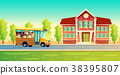 Vector cartoon kids back to school on yellow bus 38395807