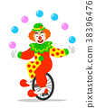Funny circus clown juggling balls on unicycle 38396476