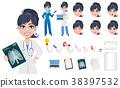 Beautiful cartoon character medic creation set. 38397532