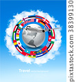 Travel background. Globe with a plane and a circle 38399130