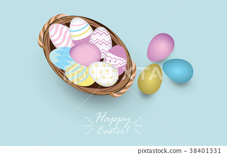 colored easter eggs in basket,vector illustration. 38401331