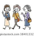 矢量 老人 一個年輕成年女性 38401332