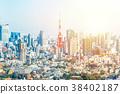 city skyline aerial view in Yebisu, Tokyo, Japan 38402187
