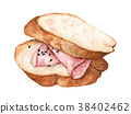 Slice bread with ham, Delicious sandwich.  38402462