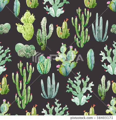 Watercolor cactus vector pattern 38403171