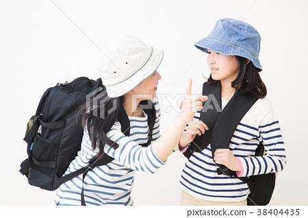 등산 하이킹 부모 가족 아이 여자 초등학생 여자 38404435