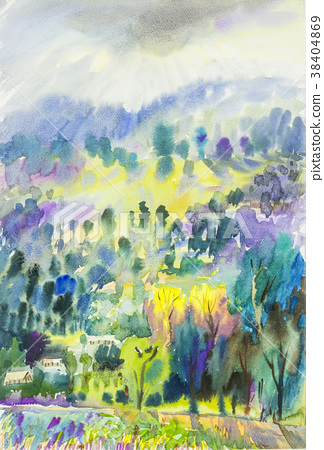 Watercolor landscape painting colorful of mountain 38404869