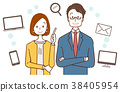 Illustration of business woman and office worker, suggestion about the Internet 38405954