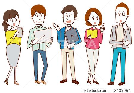 사무실에서 일하는 남성과 여성의 일러스트 38405964