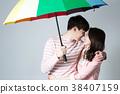 비 커플 청춘 행복 비오는 날 38407159