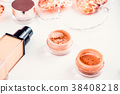 Woman beauty products in golden colors 38408218