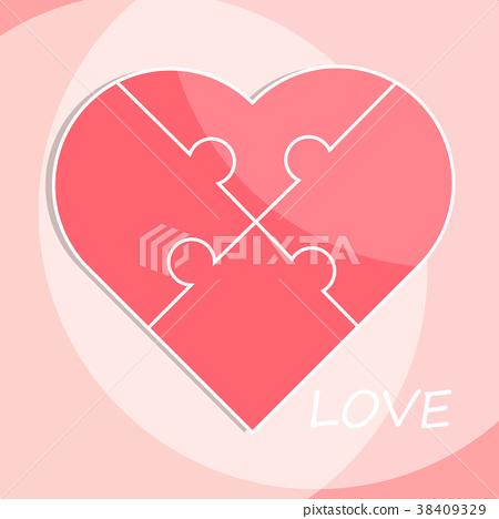 valentine jigsaw love heart puzzle pieces flat vec - Stock ...