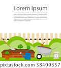 flower garden bricks, wheelbarrow vector 38409357