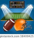American Football Field with Scoreboard 38409425