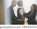Parents and children waiting for the exam interview 38409458