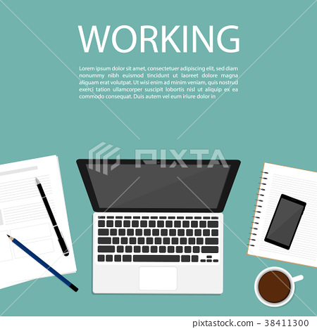 business working space top view notebook vector	 38411300