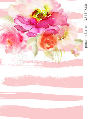 Greeting Card With Watercolor Flowers Handmade 插圖素材