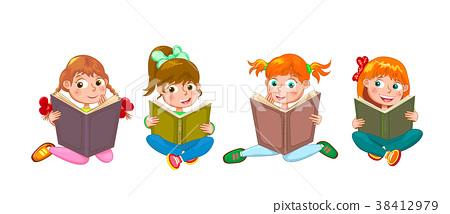 Little children read interesting books 38412979