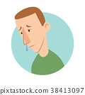 Young man with a runny nose, sickness icon. Vector 38413097