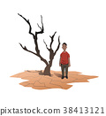 Water scarcity concept. An African man stands next 38413121