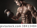 man, dumbbell, muscular 38413484