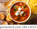 Delicious chicken buffalo soup with tomatoes 38413635