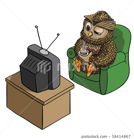 Sleepy Owl With Cup Of Coffee Watching Tv