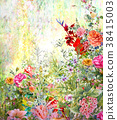 Abstract colorful flowers watercolor painting 38415003