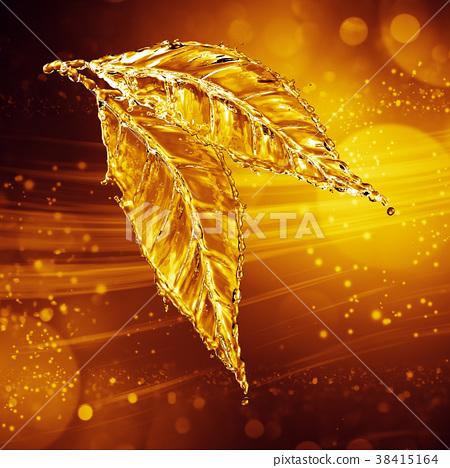 Leaf made of water splash. Gold color 38415164