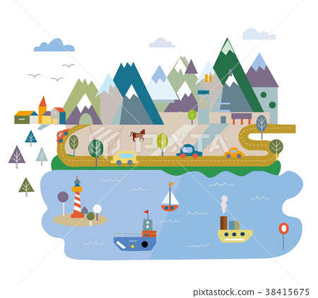 Tourism card with lake and mountains illustration 38415675