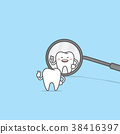 Tooth character look at the dental mirror vector 38416397