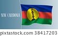 New Caledonia waving flag vector illustration 38417203