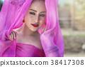 Thai woman wearing traditional Thai dress 38417308