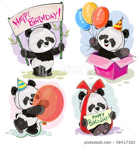 Happy Birthday Vector Set With Baby Panda Bears Stock Illustration