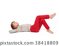 Girl lying on her back on the floor looking up 38418809