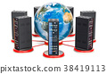 Computer Server Racks around the Earth Globe 38419113