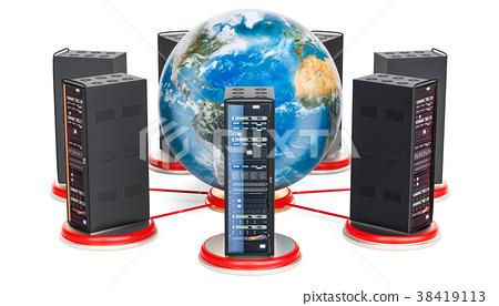 Computer Server Racks around the Earth Globe 38419113