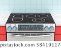 Electric slide-in convection range in kitchen 38419117