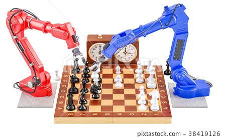 Robots playing chess concept, 3D rendering 38419126