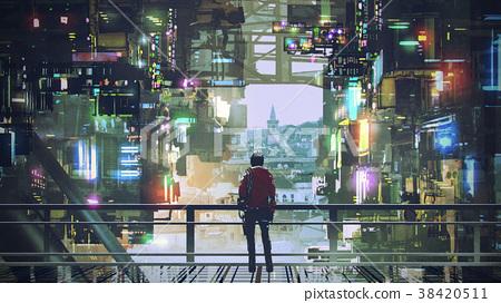 man in the cyberpunk city 38420511